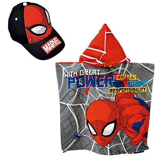 Poncho Spiderman Telo Mare Piscina + Cappello Spiderman Marvel per Bambini Grigio