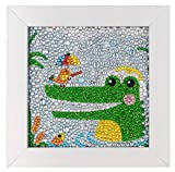 ParNarZar Crocodile Cleaning Teeth Diamond Painting Easy Art Crafts Kits for Kids Beginners Girls DIY Creativity with Frame 6x6inches