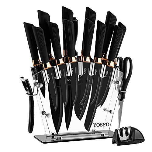 Kitchen Knife Set with Block, Knives Set with Acrylic Stand, 17Pcs Stainless Steel Cutlery Knife Block Set includes Serrated Steak Knives Set, Chef Santoku Knives, Scissor, Sharpener and Holder
