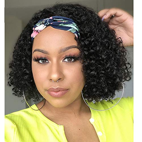 Headband Wigs for Black Women Afro Kinky Curly Black Turban Wigs with Black flannel hair band Heat Resistant Fiber Synthetic Party Cosplay Half Wigs for Women