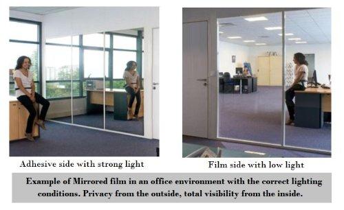 152cm x 2m - Mirror Window Film - Mirror Effect Glass Film One Way: Amazon.co.uk: Kitchen & Home