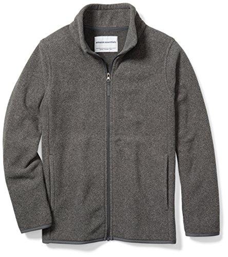 Amazon Essentials Kids Boys Polar Fleece Full-Zip Jackets, Grey Charcoal Heather, Medium