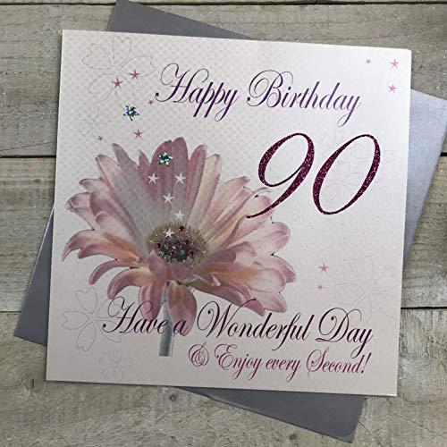 witte katoenen kaarten 1-Piece Happy 90th Verjaardag Extra-Large Verjaardagskaart, Roze Bloem