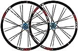 YZU Juego de ruedas para bicicleta de montaña de 26 pulgadas MTB de doble pared, llantas de aleación de liberación rápida, frenos de disco sellados 7 8 9 10 S 24H F1077g R1265g, azul, C