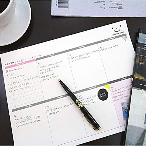 Cuaderno de planificador de trabajo de escritorio A4 Planificadores de cuadernos 60 hojas Planificación diaria Material de oficina de calidad Herramienta de papelería escolar-Blanco