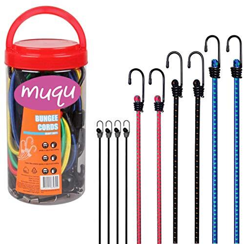 MUQU Set of 10 Elastic Bungee Cords - Bungee Straps Assorted Lengths Heavy Duty Bungee Ropes for Caravan Camping RVs Trunks Luggage Racks (4pcs x 25cm, 2pcs x 60cm/80cm/100cm)