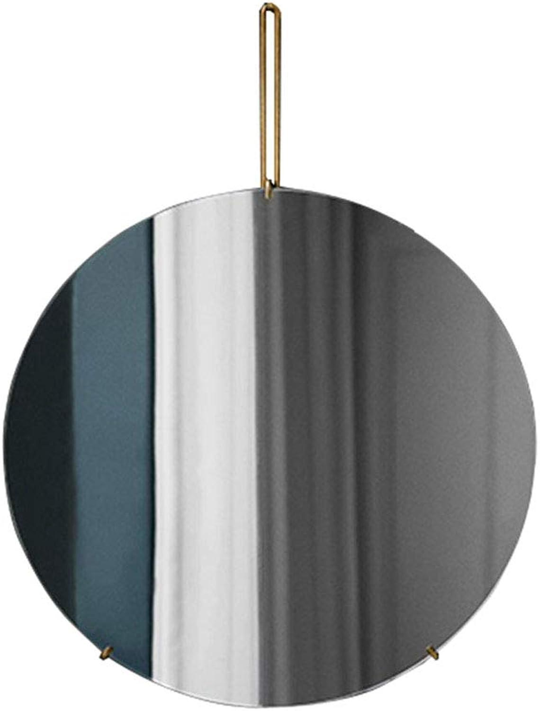 Round Wall Bathroom Mirror Hanging Mirror Decorative Wall Mirror   Wall Mounted Vanity Mirror   Circle Make-up and Shaving Mirror   Frameless gold Bracket (Size   Diameter 30cm)