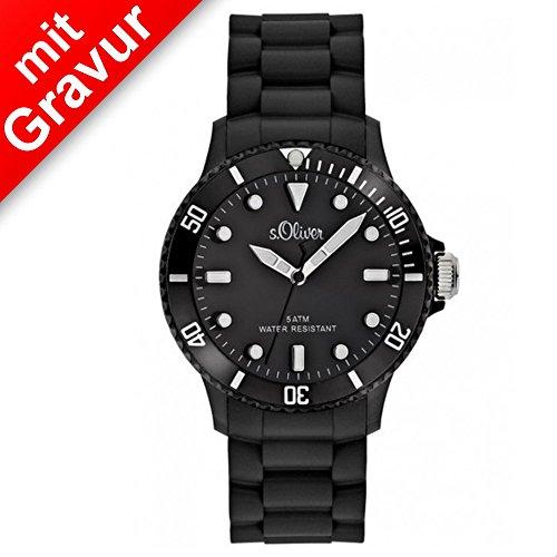 Sterngraf Armbanduhr von s.Oliver MIT Gravur (z.B. Initialen) SO-2290-PQ schwarz Unisex Herrenuhr Damenuhr mit Silikonarmband