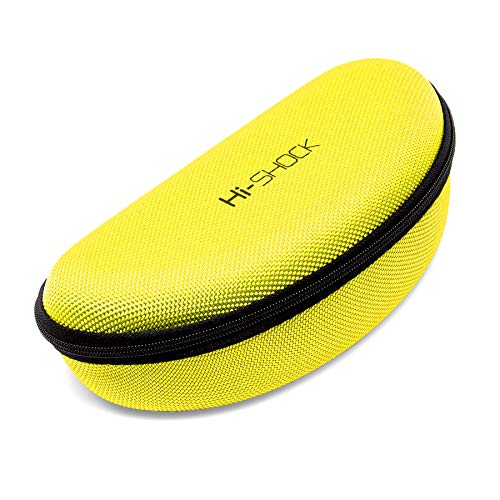 Hi-Shock Brillenetui Hi-Case | Stoßabsorbierendes Hartschalen-Case mit Schlaufe & Reißverschluss | Mit Mikrofasertuch [robust | wasserabweisend | gelb | 17,5cm x 7,5cm x 5,5cm]