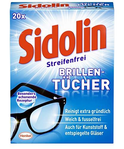 Sidolin feuchte Reinigungstücher, 20 Stück für Brillen, Displays und Bildschirme