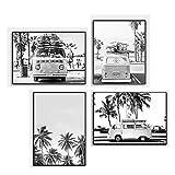 Camper Van Beach Surf Canvas Art Prints Black White Photography Ocean Poster Nordic Palm Tree Pintura Boho Wall Cuadros Home Decor 30x40cmx4 No Frame