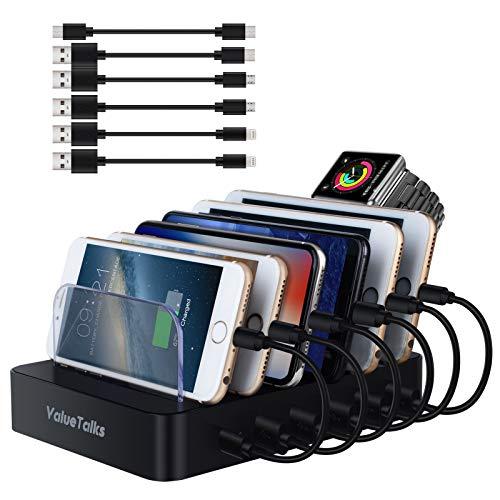 ValueTalks Estación de Carga 6 Puertos con Base de Carga para Huawei Galaxy Phone Móvil y Tableta(Incluído 6 Cables para Carga) ✅