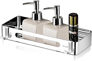 XGzhsa Estante de baño estante de ducha estante de baño de acero inoxidable 304 Sin perforación con 2 ganchos estante d...