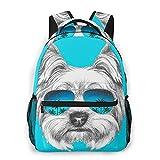 MAYBELOST Mochila casual de doble hombro,Retrato de perro Yorkshire Terrier con gafas,Mochila ligera y duradera Mochila deportiva para viajes de negocios Mochila para adolescentes adultos