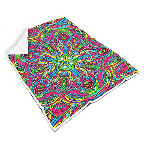 Rinvyintte Mandala Flower Thermisch leuchtende Farben Fleece Decke für Couch-Schlafsofa Lassen Sie die Menschen gut schlafen für Alle Menschen Sonnenscheinstil White 150x200cm