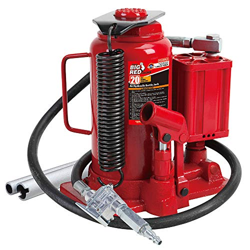 BIG RED TA92006 Torin Pneumatic Air Hydraulic Bottle Jack with Manual Hand Pump, 20 Ton (40,000 lb) Capacity, Red