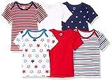 Amazon Essentials - Pack de 6 camisetas con escote americano para niño, Uni Americana, Bebé prematuro