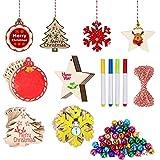 FOGAWA 40pz Decorazioni in Legno Natale Ornamenti di Albero di Natale di 4 Forme Addobbi D...
