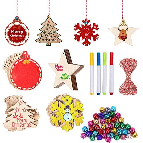 FOGAWA 40pz Decorazioni in Legno Natale Ornamenti di Albero di Natale di 4 Forme Addobbi Decorazione Natalizi Legno Legno Ciondolo con Campanellino, Penna e Corda Decorativa per Artigianato Fai da Te