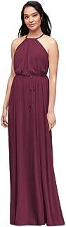 Bridesmaid Soft Mesh Halter Bridesmaid Dress with Slim Sash Style F19533