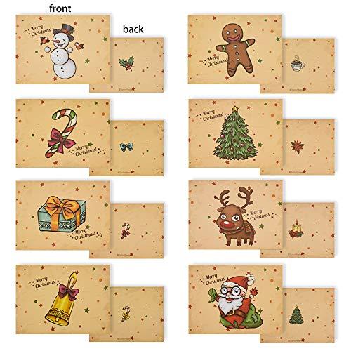 Gudotra Kit 32pz Babbo Natale Biglietti di Auguri Natalizi Merry Christmas con 32 Buste Modello Renne Pupazzo di Neve Bastoncino di Zucchero Albero di Natale Campana