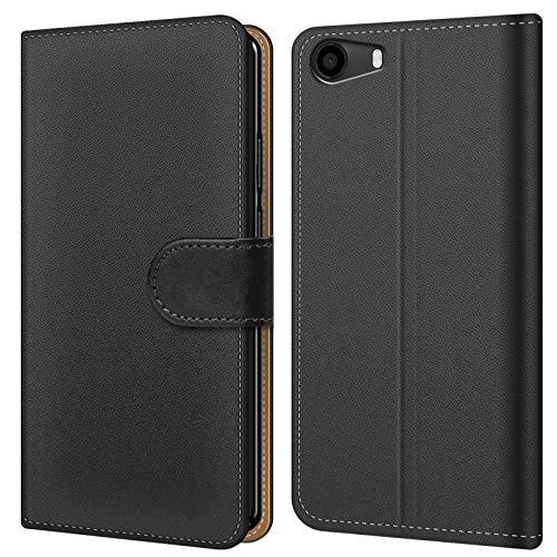 Conie BW43767 Basic Wallet Kompatibel mit Wiko Lenny 2, Booklet PU Leder Hülle Tasche mit Kartenfächer & Aufstellfunktion für Lenny 2 Case Schwarz