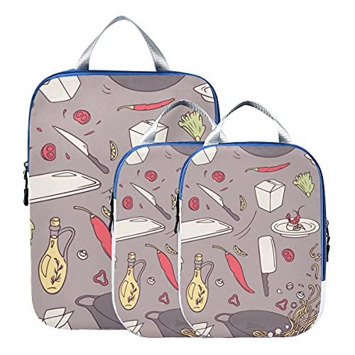 Juegos de cubos de embalaje Creative Fashion Cartoo Kitchen Wok Cubos de embalaje para viajes Organizadores de viaje expandibles Bolsas de embalaje para equipaje de mano, viajes (juego de 3)