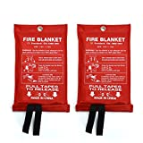 2Pack Fire Blanket for Emergency Survival, AQUEENLY Fiberglass Fire Emergency Blanket Fire Shelter Safety Cover for Kitchen, Car, Camping, Grilling, Office, Warehouse (39.4 x 39.4 in)
