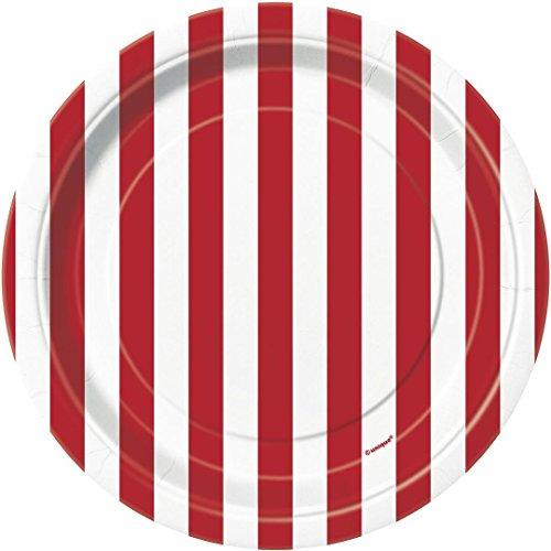 Gestreifte Party-Papp-Teller, 8Stück, Rot, 18cm Teller