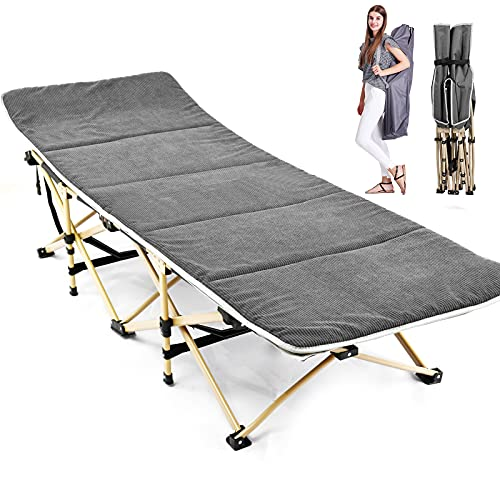 H&ZT Updated Folding Camping Cots for Adults, 6.25  Length Heavy Duty Sleeping Cots Suits People Weighting 600 Pounds, Including a Carrying Bag (28 x14 (W x H)- Widen, Gray with Corduroy mat