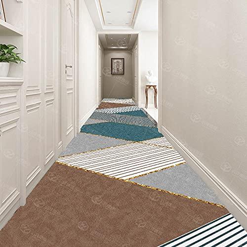 Alfombra del Hall de Hallway, patrón geométrico Abstracto clásico, no resbalón y Lavable, Negro Gris Amarillo Blanco Color marrón, Escalera, vestíbulo, pasillos-Azul Gris_200x300cm
