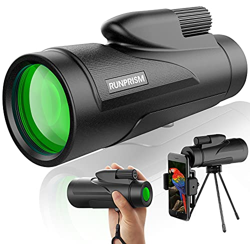 RUNPRISM Telescopio Monocular 12x50, Monoculares de Prisma Bak4 de Alta Definición, Trípode con Adaptador para Smartphone, Utilizado para Observación de Aves, Caza, Senderismo, Camping, Turismo.