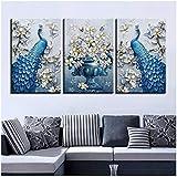 Arte en lienzo, decoración de la sala de estar, 3 piezas, pavo real azul, imágenes HD, impresión, flor de orquídea, póster de mariposa - 50x70 cm (sin marco)