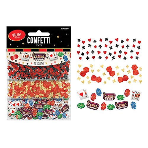 amscan 361227 Disposable Casino Value Pack Confetti Konfetti, plastik, mehrfarbig