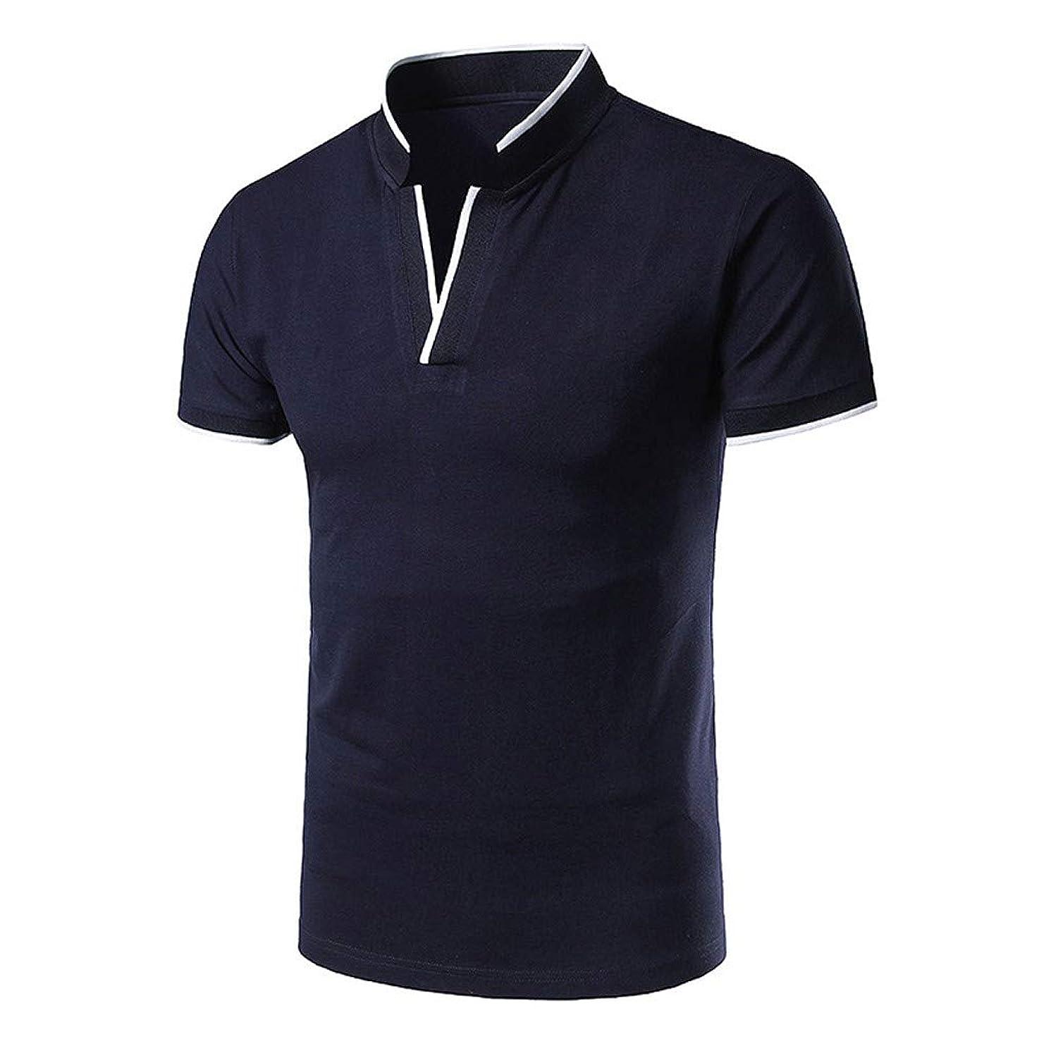 Mijaution Men's Stand Collar Short Sleeve Shirt Top V-Neck T-Shirt Henley Shirt Golf Shirt Golf Polo Shirt
