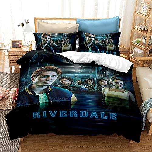 PTNQAZ Juego de ropa de cama con diseño de películas extrañas en 3D, funda de edredón Riverdale, funda de almohada individual, doble, king size, decoración de dormitorio, juego de ropa de cama (King)