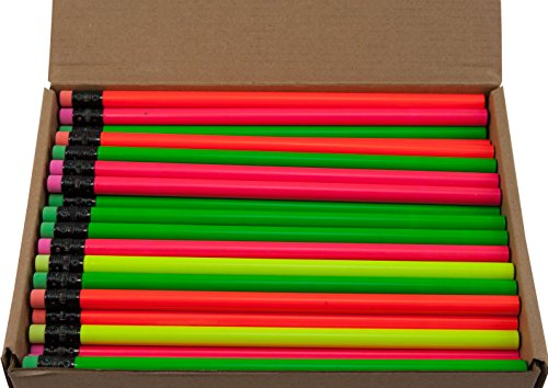 Round Pencils (Full Size Round Pencil with #2 Lead Available in a Variety of Colors) (Tested Non Toxic) (Latex Free Eraser) (Assortment (Neon Green, Neon Yellow, Neon Orange, Neon Pink))