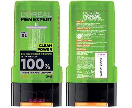 L'Oréal Men Expert Clean Power Ultra-Reinigendes Duschgel für Herren, 300 ml, 3 Stück