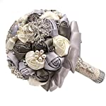 abbie home advanced customization romantic bride wedding holding toss bouquet rose with pearls and rhinestone decorative brooches accessories- (grey + creamy white)