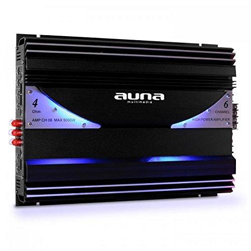 Auna AMP-CH06 Urban Edition - Amplificador para Coche HiFi, 5000W, 570W RMS, 6 Canales, Luz LED Azul, 3 Entradas RCA, Crossover, Ganancia Ajustable, Kit Completo de Montaje, Negro