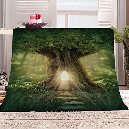 xczxc Manta de Franela Gran árbol Verde 3D Impreso de Microfibra Franela Mantas, Suave niños Adultos sofá Cama Manta Polar 180x200cm