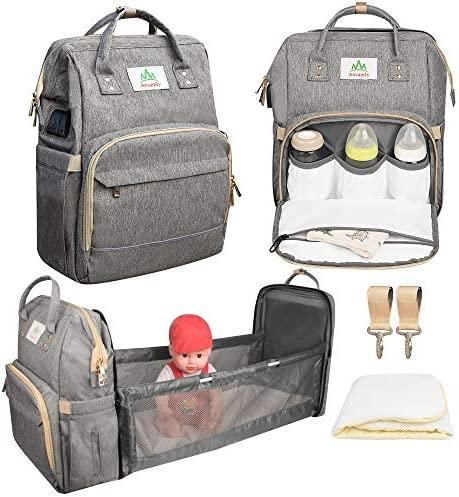 Ansamly Baby bassinets of Diaper Bag Backpack Foldable Travel Baby Cribs with Changing Station product image
