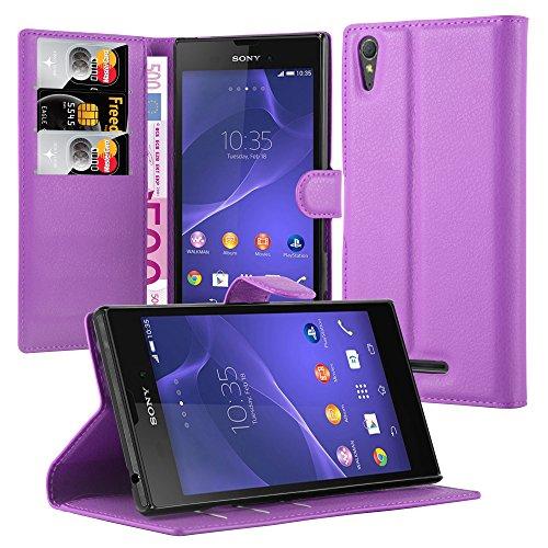 Cadorabo Hülle für Sony Xperia T3 - Hülle in Mangan VIOLETT – Handyhülle mit 3 Kartenfächern - Case Cover Schutzhülle Etui Tasche Book Klapp Style