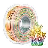 Rainbow Silk PLA+ Filament 1.75mm, SUNLU PLA Pro 3D Printer Filament Multicolor, Dimensional Accuracy +/- 0.02mm, 1kg Spool, 1.75 Shiny Silk, Rainbow Filament