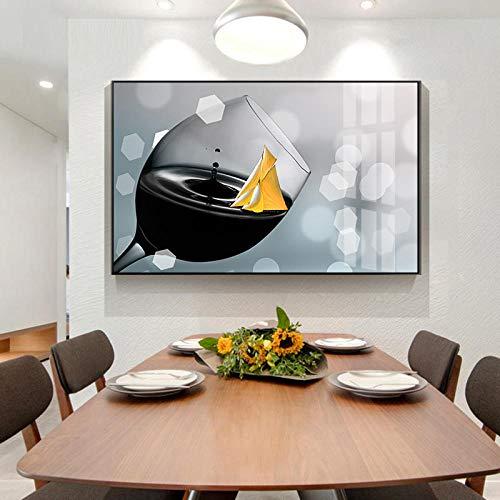 CDERFV Nórdico romántico Vino Tinto champán Carteles Impresiones Lienzo Pintura Cocina Moderno Arte de la Pared imágenes decoración del hogar-60x120cm (sin Marco)