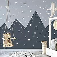 カスタム壁画のための3D手描きの壁紙シンプルな山の星空の絵画キッズルームの壁の壁紙幼児
