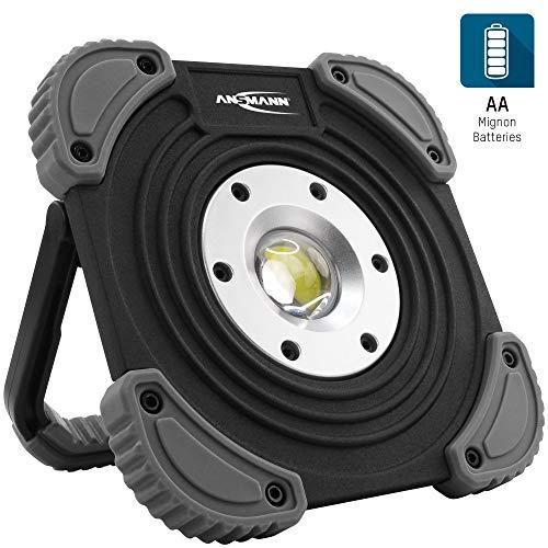 ANSMANN LED Baustrahler inkl. Batterien 530 Lumen & 10W - kabellose Arbeitsleuchte flexibel & dimmbar - robuster LED Strahler für Baustelle, Werkstatt & Garage - LED Arbeitsscheinwerfer Arbeitslampe