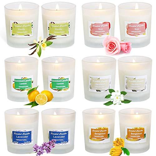 McNory Aroma kaarsen, 12 stuks sojawas geurkaarsen, cadeauset, aromatherapie-kaars, geurkaars, natuurlijke aroma's van rozen, citroen, ladendel voor Kerstmis, verjaardag