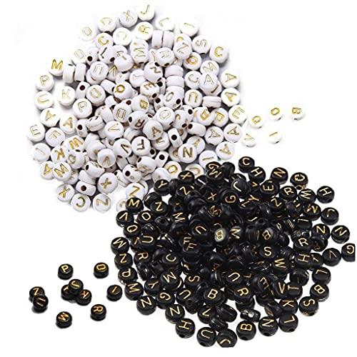 TOSSPER 1000pcs Bead Redondo Acrílico Letter Letra Beads Redondo Plano Alfabeto Spacer Beads para Pulsera Fabricación Joyas DIY
