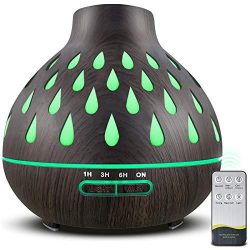 Aroma Diffusor (500 ml),Ultraschall befeuchter, mit 7Farben Led Ätherische Öle Luftbefeuchter für, Yoga, Büro, Schlafzimmer (dunkelbraun)